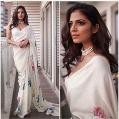 Glamour Looks Amazing Floral Print Designer saree With blouse, Simple Sarees, Trendy Sarees, Stylish Sarees, Indian Designer Outfits, Indian Outfits, Indian Attire, Indian Fashion Designers, Pakistani Outfits, Indian Wear