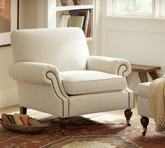Brooklyn Upholstered Armchair #potterybarn so many fabrics to choose from and it comes in leather as well