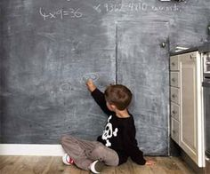 Our favorite chalkboard wall (in our old Sydney kitchen). Still love this idea and so do the boys. Via Remodelista. Quinton would love chalkboard paint walls. Kitchen Chalkboard, Blackboard Wall, Chalk Wall, Chalkboard Paint, Chalk Board, Chalk Paint, Black Chalkboard, Restaurant Design, Life On A Budget