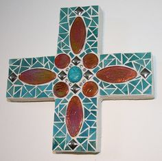 MOSAIC WALL CROSS  beautiful work! Western Wall Decor, Mosaic Wall Art, Wall Crosses, Unique Home Decor, Mosaics, Decorating Your Home, Ceiling Fan, Are You Happy, Keys