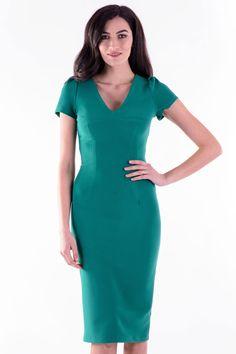 Rochie Miriam Verde – Karla.Club Short Sleeve Dresses, Dresses With Sleeves, High Neck Dress, Club, Collection, Fashion, Green, Turtleneck Dress, Moda