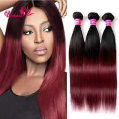 販売オンブルペルー毛3バンドル7aグレードオンブル人間の髪ストレート赤バーガンディ織り2トーンバージンペルー髪レミー髪