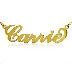 A name necklace is a lovely personalised gift for family or friends or even for yourself. They will never go out of fashion and although they were originally made famous by Carrie Bradshaw from Sex and the City, they are now worn by many celebrities including Rhianna and Britney Spears, to name just a few. Personalize this classic Carrie style Name Necklace Gold with the name of your choice!