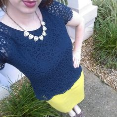 Navy & Chartreuse. Modern Modesty Blog. Modest Outfit Ideas.