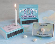 Happy 17th Birthday Greeting For Her In A Matchbox - 17th Birthday Card - The World Is Your Oyster - Gift In A Matchbox - Pearl Gift