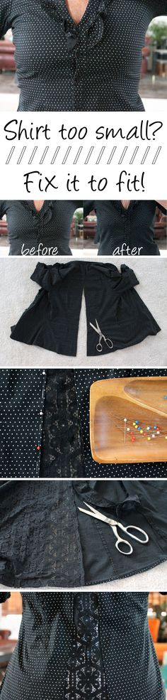 Simple alterations can make that too-tight, ill-fitting shirt into an adorable shirt that fits! http://www.ehow.com/ehow-crafts/blog/resize-a-too-small-shirt-to-fit/?utm_source=pinterest&utm_medium=fanpage&utm_content=blog