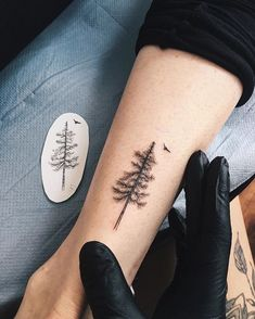 @yg.tattooing - tiny #pine #tree for Emma✨ More #MoonTattooIdeas