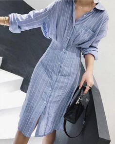 Autumn Women Dress Korean Style Slim Waist Striped Shirt Dress Long Sleeve Knee Length Ladies Elegant Midi Dress Vestidos Jurken - Shop Forest is a leading Online Store where you can purchase everything with upto discount. Striped Shirt Dress, Striped Long Sleeve Shirt, Long Sleeve Midi Dress, Long Sleeve Shirt Dress, Dress Long, Shirt Over Dress, Cotton Shirt Dress, Cotton Shirts, Elegant Midi Dresses