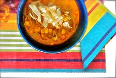 chicken enchilada soup, slow cooker recipes, crock pot recipe, tortillas (sub veggie broth, etc. for chicken) -- did it on my stove top with Boca grounds and a whole lotta buffalo-style hot saucce, spaghetti sauce, and chile powder + cumin. Amazing. Same texture as chili or sloppy joes, but I've been using it for taco salads.