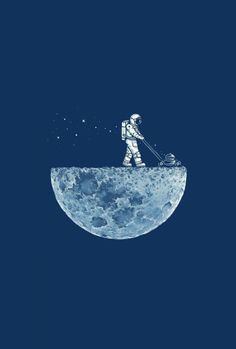 moon funny astronauts lawnmower