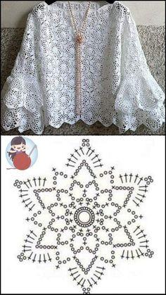 Pull Crochet, Mode Crochet, Crochet Art, Crochet Motif, Crochet Stitches, Crochet Patterns, Crochet Jacket, Crochet Blouse, Crochet Summer Dresses