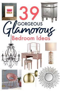 If it's a glam bedroom you're going for then you need to check all of this out. Everything you need from the furniture to glam wall decor to lighting and accessories, it's all here and it's all perfect for a glam bedroom. Furniture, Glamourous Bedroom, Room, Home Decor Decals, Gorgeous Bedrooms, Glam Bedroom, Glam Room, Home Decor, Glam Wall Decor