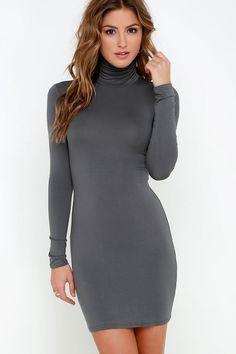 9e03e179eda63 Gorgeous dress Long Sleeve Turtleneck Dress, Grey Turtleneck, Tight Long  Sleeve Dress, Dress
