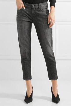 J Brand - Sadey Cropped Distressed Slim Boyfriend Jeans - Gray - 27