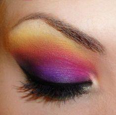 Purple + Pink + Yellow Eyeshadow and Black Eyeliner