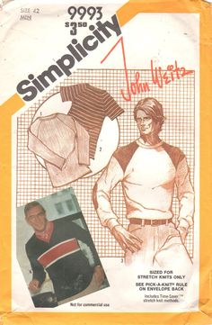 Simplicity 9993 1980s Mens Pullover Raglan Sleeve Top by mbchills