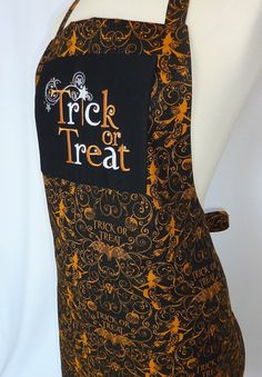 Embroidered Adult Trick or Treat Apron with a Pocket and Crystals  by 4EverydayEmbellished, $39.00
