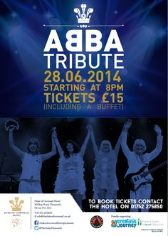 #ABBA Tribute 28.06.2014! Tickets £15 (including a buffet) see flyer for details >>> #Plymouthevents #Plymouth
