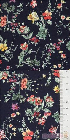 """navy blue cotton fabric with flowers in yellow, purple etc., Material: 100% cotton, Fabric Type: strong cotton printed shirting fabric, Pattern Repeat: ca. 20.1cm (7.9"""") #Cotton #Flower #Leaf #Plants #JapaneseFabrics"""