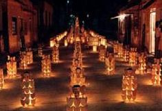 Paper lanterns in Quimbaya, Quindío candlelight festival