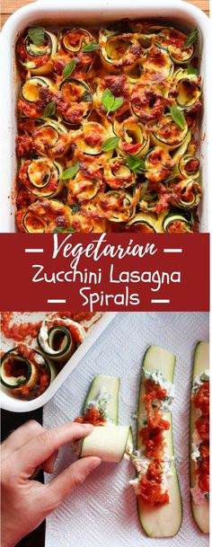 Vegetarian Zucchini Lasagna Rolls full of spinach, ricotta, and a chunky home-baked spaghetti sauce sauce. Cooking Recipes For Dinner, Easy To Cook Meals, Dinner Recipes Easy Quick, Quick Healthy Meals, Delicious Dinner Recipes, Healthy Chicken Recipes, Veggie Recipes, Vegetarian Recipes, Healthy Eating