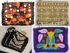 Crafts Of Gujarat is a Crafts Store in Ahmedabad offering Indian Handmade Handicraft Products, Vintage kantha Collection, intage Tribal Indian Costume jewelry. Kutch Work, Fringe Fashion, Hand Work Embroidery, Designer Clutch, Ibiza Fashion, Boho Bags, Mirror Work, Purse Styles, Clutch Purse