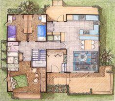Interior Design Renderings by Kristen Baird, via Behance