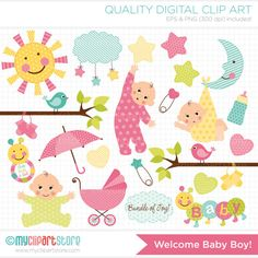 New Baby Announcement / Baby Girl Clip Art / Digital Clipart - Instant Download on Etsy, $4.00