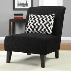 Anna Black Accent Chair with Houndstooth Grande Pillow - Overstock™ Shopping - Great Deals on Living Room Chairs