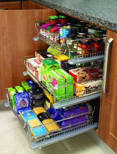 Individual Soft close pull out basket kitchen cuboard storage system Pull Out Kitchen Cabinet, Kitchen Pulls, Kitchen Drawers, Kitchen Cabinetry, Kitchen Pantry, Kitchen And Bath, Kitchen Decor, Kitchen Ideas, Cupboards