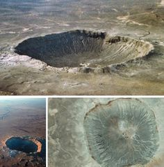 Barringer Meteorite Crater, Arizona, United States  was formed 50,000 years ago when a meteorite impacted land in what is now Arizona. Basically a giant hole, the Meteorite Crater (or Meteor Crater) has 150 rims with stones the size of houses and spans a mile. It's also 570 feet deep. Remnants of meteoric iron are scattered around the crater for miles.