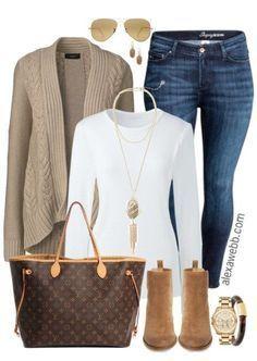 Plus Size Sand Cardigan Outfit - Plus Size Fashion for Women - alexawebb.com