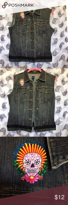 💀Gap💀 Vest w/Sugar Skull/calavera Patch Gaop vest size small. New with personalized embroideries. GAP Jackets & Coats Vests