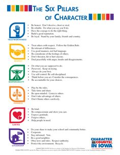 The Six Pillars Of Character picture … Más Elementary School Counseling, School Social Work, School Counselor, Elementary Schools, High School, 6 Pillars Of Character, Character Counts, Teaching Character, Character Education