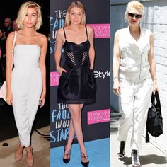 It's all about monochrome in this week's Friday style roundup. Hailey Baldwin keeps it classy in a white jumpsuit, Gigi Hadid rocks the cut out look and Gwen Stefani accessorises with black x #celebrity  #fashion #style #trend #hiddenfashion