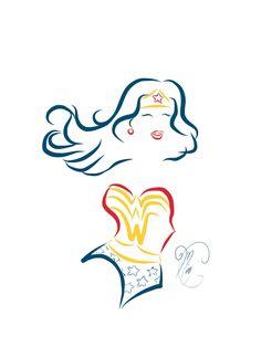 Wonder Woman Comic Book Tattoo Line Art by Miss Coco, via Behance
