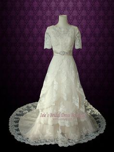 Modest Wedding Dress with Sleeves Vintage Lace Wedding Dress with Jewel Neck   Laura