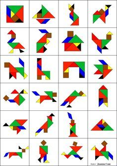 Tangram to print in color with 8 animal models - Anna Giné Roda - - Tangram à imprimer en couleur avec 8 modèles d'animaux Tangram to print in color with 8 models of animals -Model a inprimer Montessori Activities, Preschool Learning, Learning Activities, Preschool Activities, Tangram Printable, Tangram Puzzles, Material Didático, Math Games, Pattern Blocks