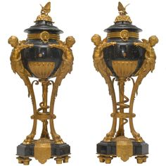 Important French 19th Century Gilt Bronze Mounted Marble Urns | From a unique collection of antique and modern urns at http://www.1stdibs.com/furniture/building-garden/urns/