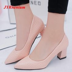 JYRhenium 2018 Plus Size OL Office Lady Shoes Thick Heels Woman Shoes  Pointed To  fashion 266b18744