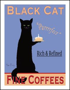 Black Cat Coffee - Limited edition print. Five size and customization options.