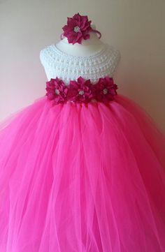 Pink Flower girl dress hot pink  tutu by MimozaLuxuryHandKnit