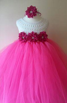 Pink Flower girl dress hot pink  tutu by MimozaLuxuryHandKnit