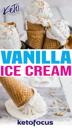 On a hot Summer day, ice cream is a must-have treat! With this easy egg-free keto vanilla ice cream recipe you won't have to miss out! Creamy, soft serve style with only 5 ingredients! On a hot Summer day, ice cream is a must-have treat! With this easy egg-free keto vanilla ice cream recipe you won't have to miss out! Creamy, soft serve style with only 5 ingredients!   @ketofocus #easyketosummerdesserts #bestketoicecream #learntomakeketoicecream Sugar Free Desserts, Low Carb Desserts, Gluten Free Desserts, Low Carb Recipes, Ice Cream Pops, Keto Ice Cream, Ice Cream Recipes, Summer Desserts, Summer Recipes