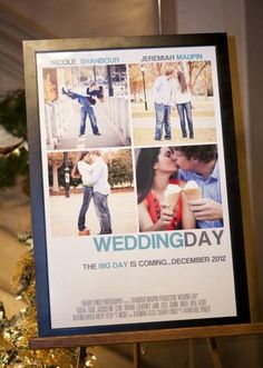 Fun movie poster signage for your entryway. Photo by Sherry Lynch Photography. #wedding #movieposter #engagementphotos