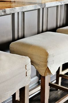 dining stools Wonderful detail on corners. Bar Stool Covers, Bar Stool Seats, Bar Stool Slipcovers, Seat Covers, Dining Stools, Kitchen Stools, Counter Stools, Bar Stools, Painted Curtains