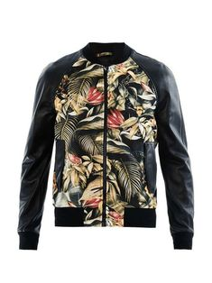 Ami | Floral-print and leather bomber jacket #ami #bomber #jacket