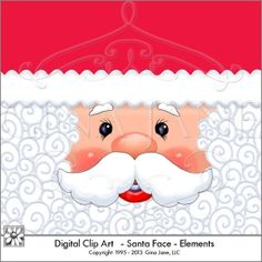 Christmas Graphics:  Santa's Beard, Santa's Face, Hat background, Beard Background, Face with eyes, mustache, nose, mouth, cheeks and eyebrows.... with matching borders for the hat trim, and little elements for the hair, you can repeat and tile to make a seamless background in your craft templates. Makes adorable Christmas printables with Santa Claus Face digital clip art and graphics in  PNG format by artist Gina Jane.