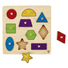 Entertain your little one with this colorful puzzle that features 10 lift-out shapes, wooden knobs for easy mobility and a geometric design for teaching basic shapes. Wooden Puzzles, Wooden Toys, Toddler Toys, Kids Toys, Hape Toys, Basic Shapes, Educational Toys, Geometric Shapes, Knob