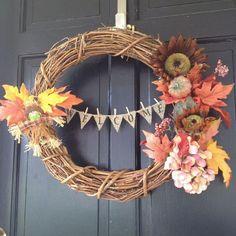 Fall Wreath With Mini Burlap Bunting